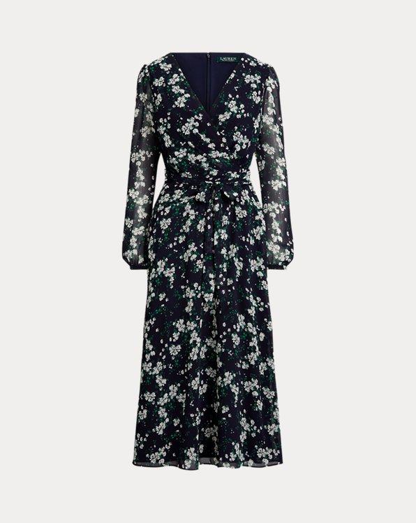 Puff-Sleeve Georgette Dress