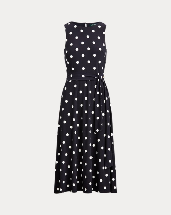 Polka-Dot Belted Dress