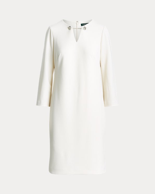 Crepe Bell-Sleeve Dress