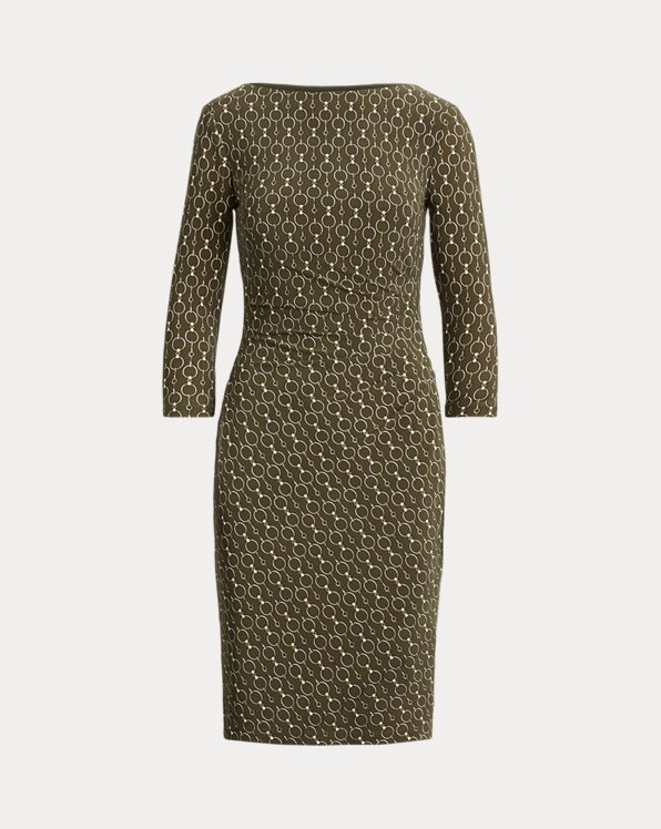 Print Ruched Jersey Dress