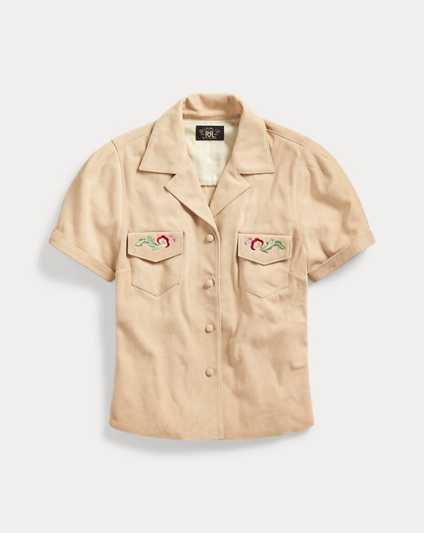 Embroidered Suede Shirt