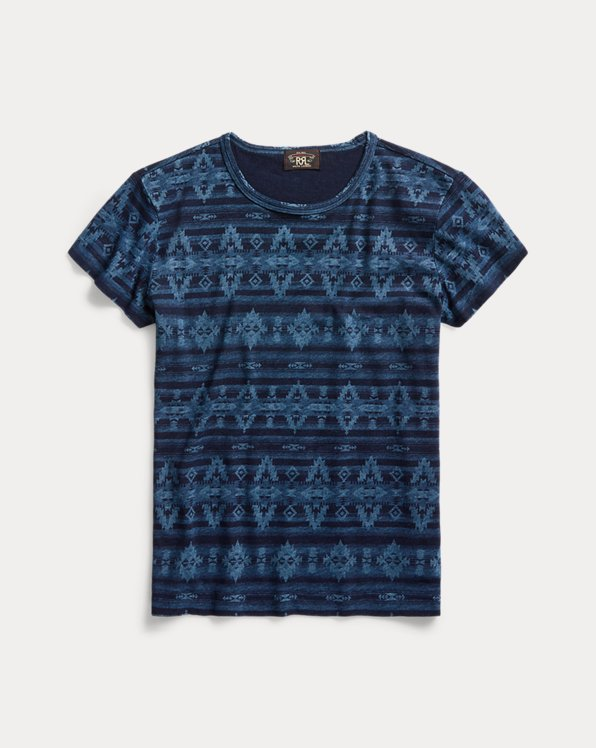 Indigo Cotton-Linen Tee