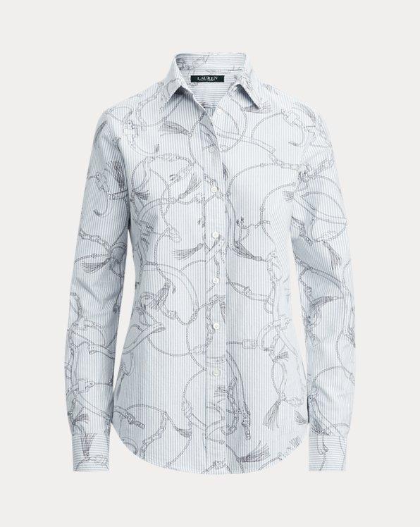 Camisa de algodón de cuidado fácil con estampado