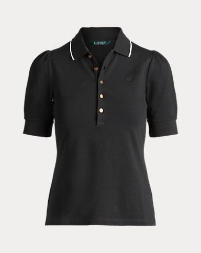 Piqué Puff-Sleeve Polo Shirt