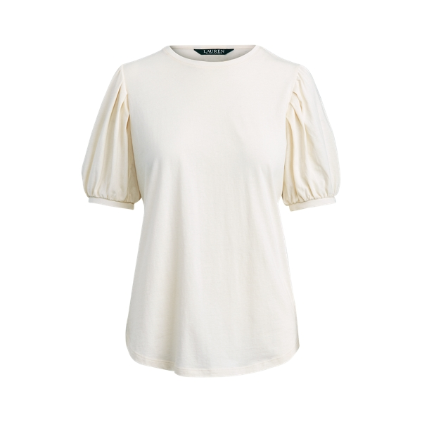 폴로 랄프로렌 Polo Ralph Lauren Cotton Jersey Puff-Sleeve Top,Mascarpone Cream