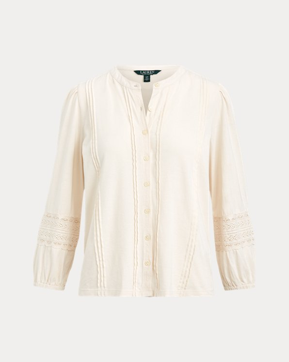 Lace-Trim Cotton Jersey Shirt