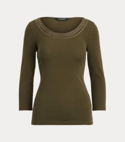 Cotton Elbow-Sleeve Top