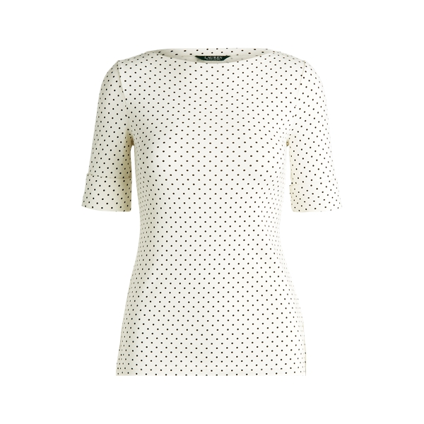 폴로 랄프로렌 Polo Ralph Lauren Polka-Dot Cotton-Blend Top,Masc Cream Multi