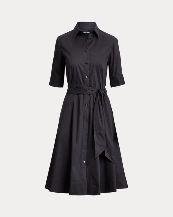 Belted Cotton-Blend Shirtdress