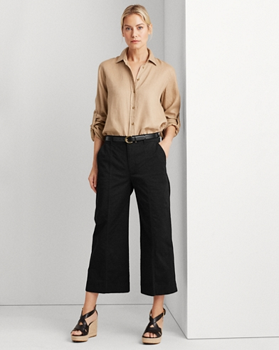 Cotton Twill Wide-Leg Trouser