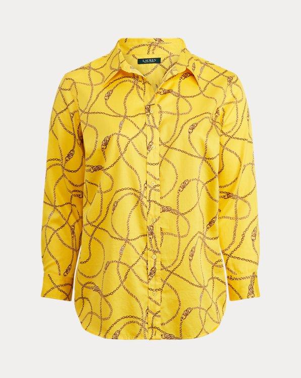 Camicia in cotone e rasatello stampata