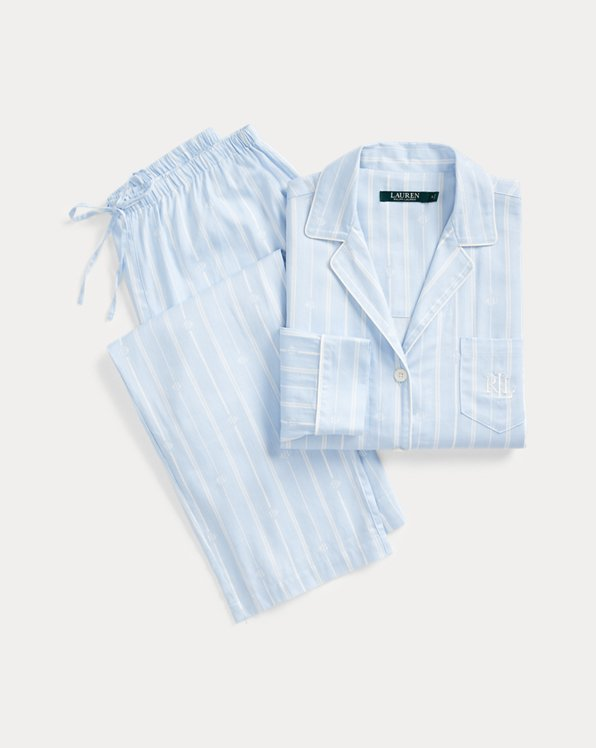 Striped Cotton-Blend Sleep Set
