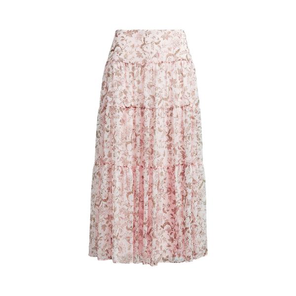 폴로 랄프로렌 Polo Ralph Lauren Floral Tiered Peasant Skirt,Pink Multi