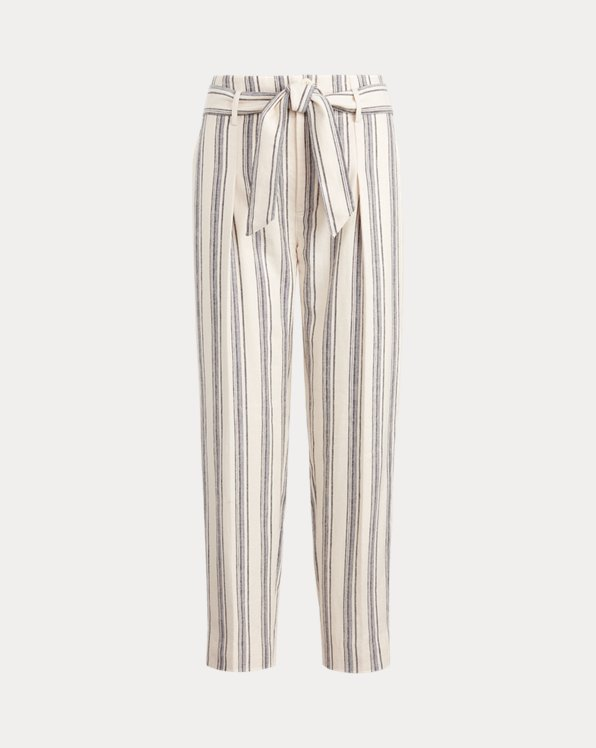 Pantalon rayé en sergé de lin