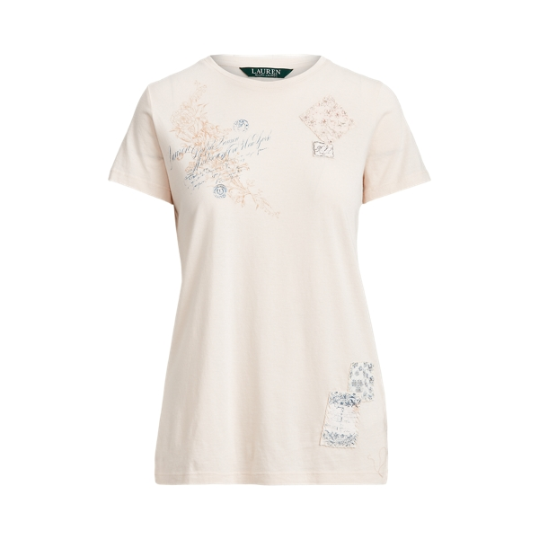 폴로 랄프로렌 Polo Ralph Lauren Patch Cotton Tee,Mascarpone Cream