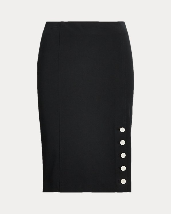 Button-Trim Cotton-Blend Skirt