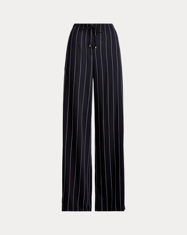 Pinstripe Wide-Leg Trouser
