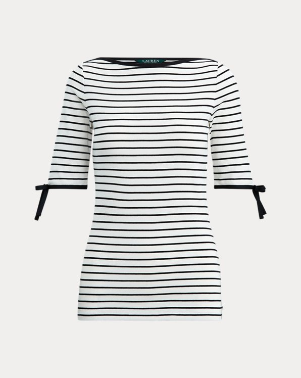 Striped Cotton-Blend Top
