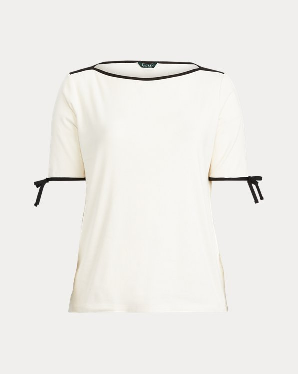 Cotton-Blend Boatneck Top