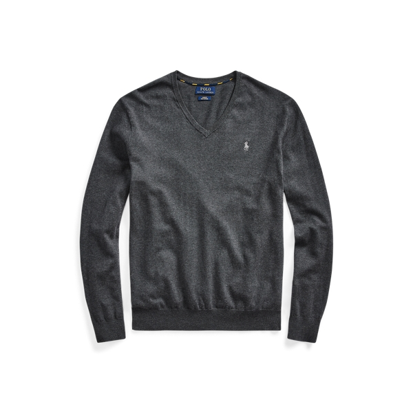 폴로 랄프로렌 Polo Ralph Lauren Cotton V-Neck Sweater,Dark Charcoal Heather
