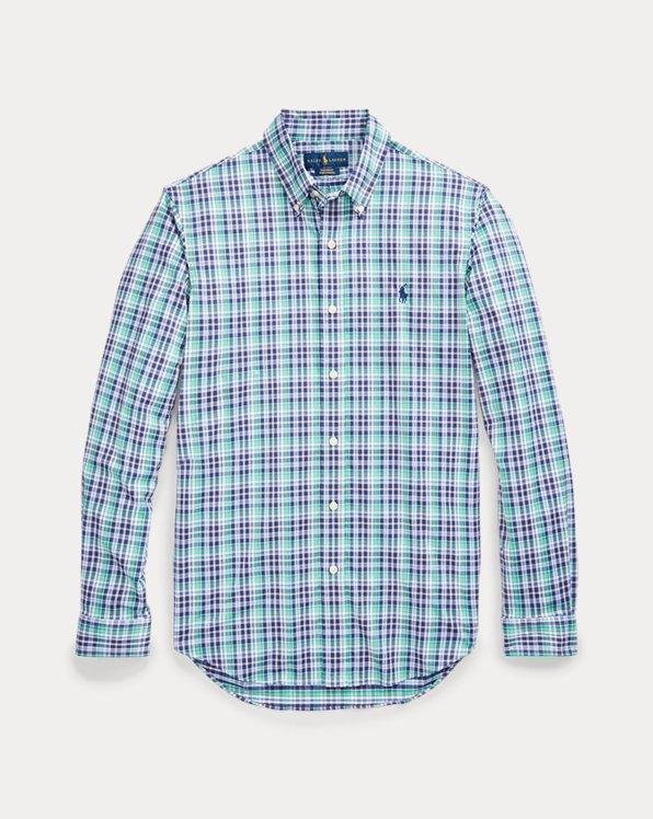 폴로 랄프로렌 Polo Ralph Lauren Custom Fit Performance Shirt,Navy/Green Multi