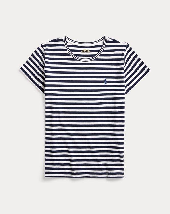 T-shirt col rond en coton rayé