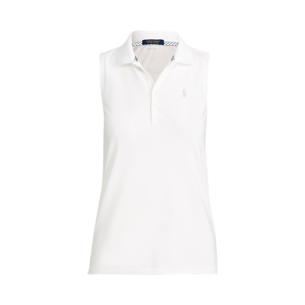 Ralph Lauren Golf Pique Sleeveless Polo,Pure White