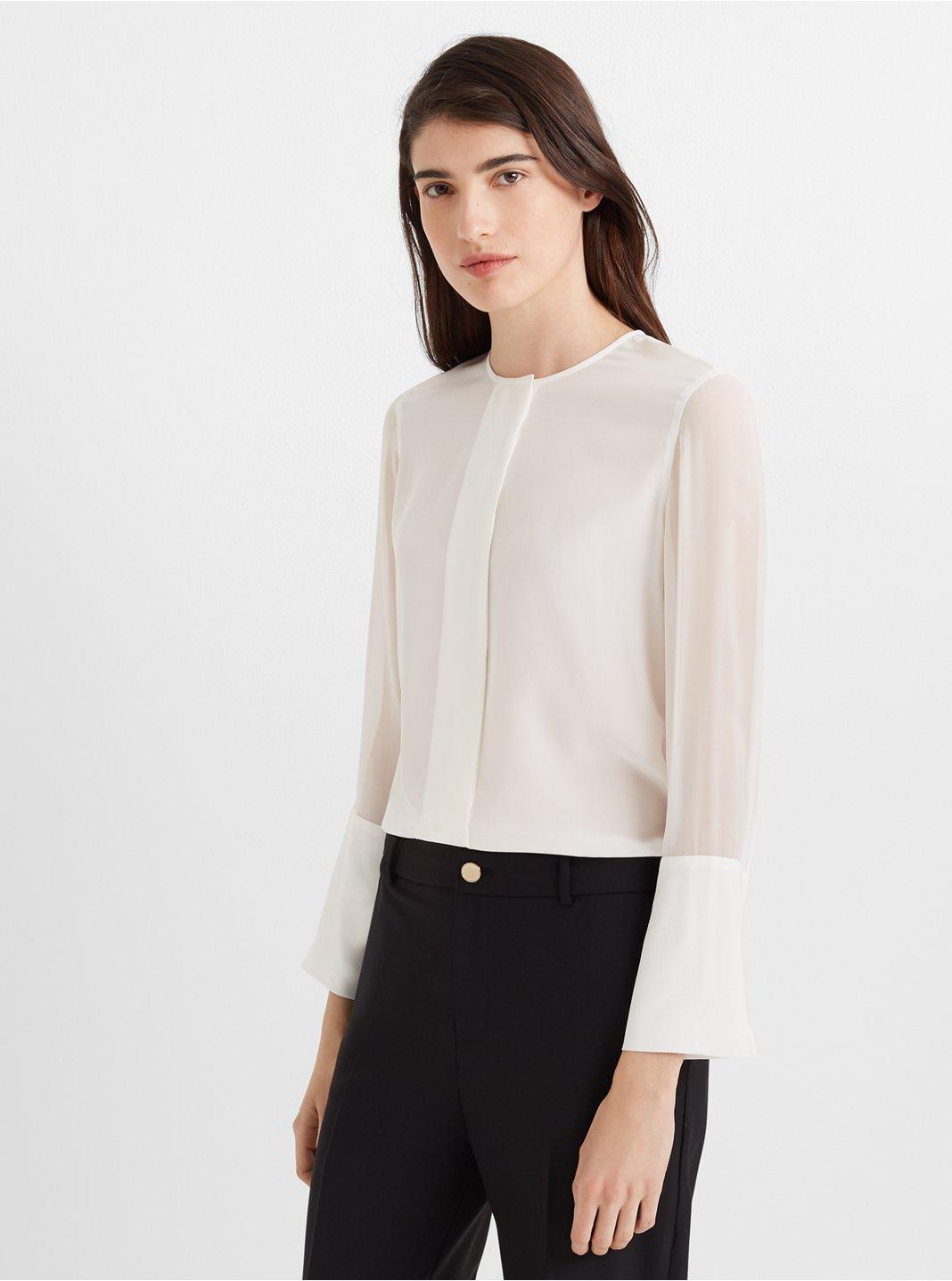 Wide-Placket Silk Shirt