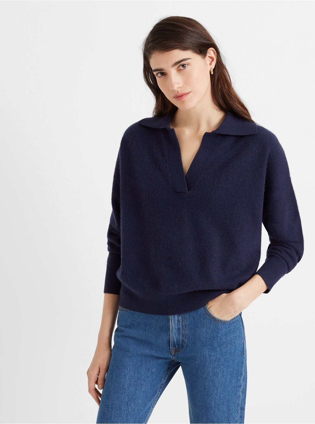 Polo-Collar Cashmere Sweater