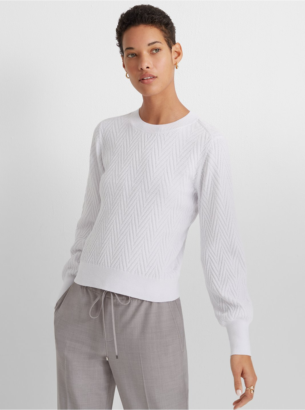 Chevron Blouson-Sleeve Sweater