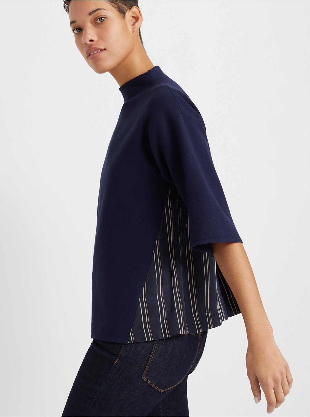 Woven-Back Shell Sweater