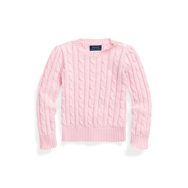 폴로 랄프로렌 Polo Ralph Lauren Cable-Knit Cotton Sweater,카멜 Carmel Pink