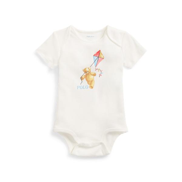 폴로 랄프로렌 Polo Ralph Lauren Polo Bear Cotton Bodysuit,White