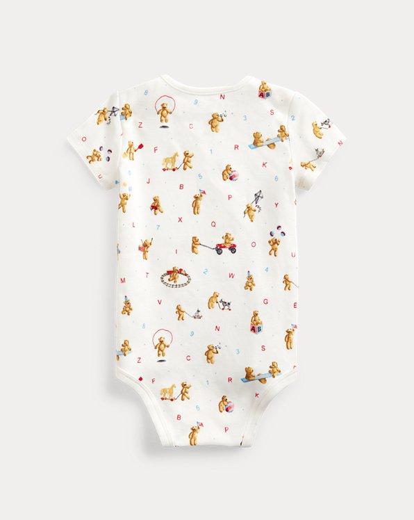 Bear-Print Cotton Interlock Bodysuit