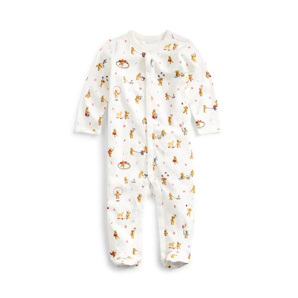 폴로 랄프로렌 베이비 커버올 우주복 Polo Ralph Lauren Bear Print Cotton Coverall,White