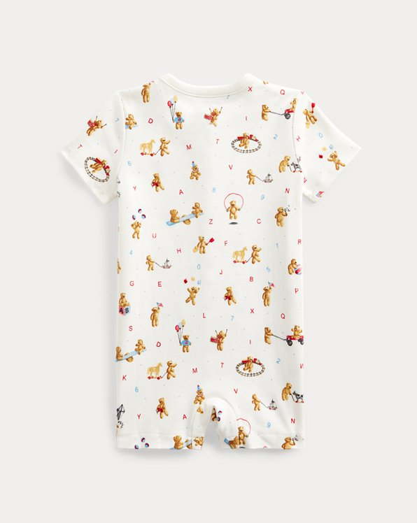 Bear-Print Cotton Shortall