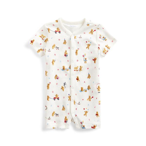 폴로 랄프로렌 베이비 아기옷 우주복  Polo Ralph Lauren Bear Print Cotton Interlock Shortall,White