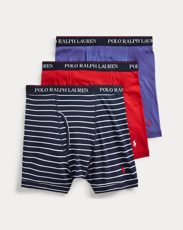 Pack of 2 Mens Premium Performance Boxer Brief Underwear Falling-Snowflakes-Dark-Red-Dog