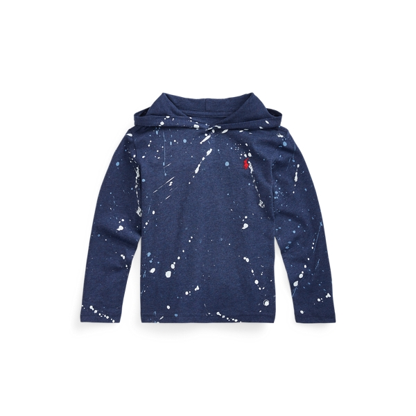 폴로 랄프로렌 Polo Ralph Lauren Paint-Splatter Hooded Tee,Observer Blue Heather