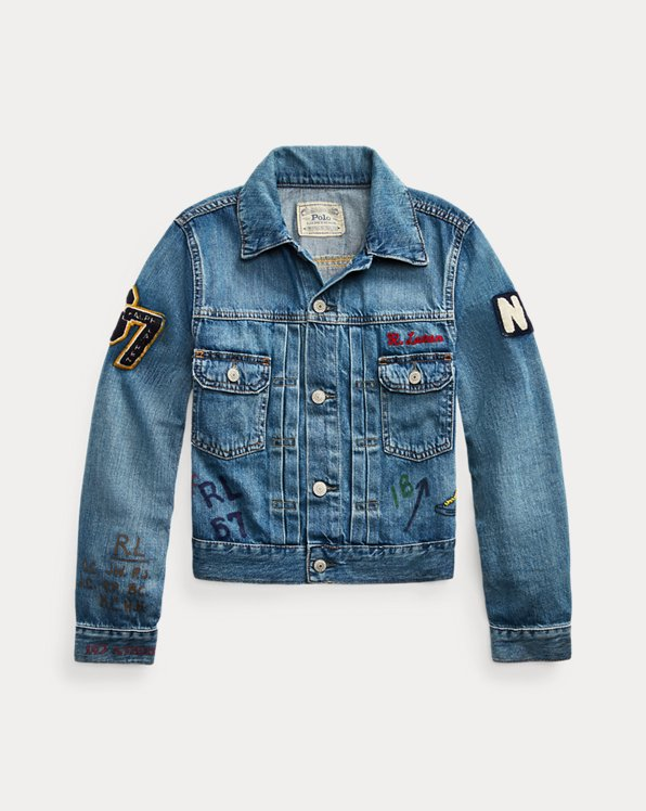 Denim Graphic Trucker Jacket