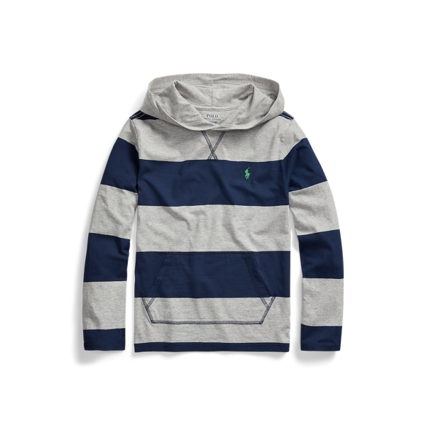 폴로 랄프로렌 Polo Ralph Lauren Striped Cotton Hooded Tee,Andover Heather Multi