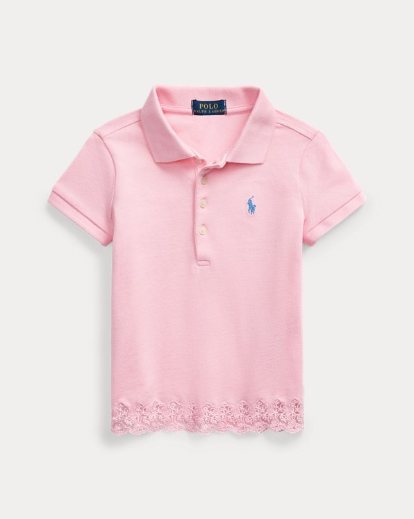 Lace-Hem Stretch Mesh Polo
