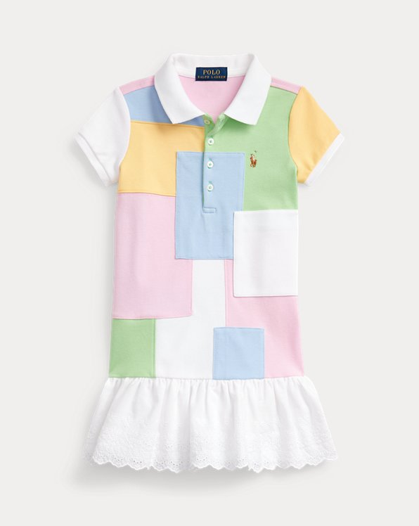 Patchwork Mesh Polo Dress