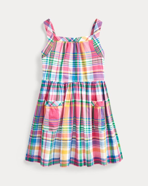 폴로 랄프로렌 Polo Ralph Lauren Madras Fit-and-Flare Dress,Pink Multi