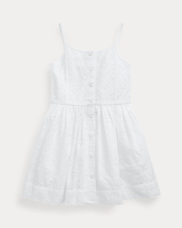 Eyelet Buttoned Cotton Dress