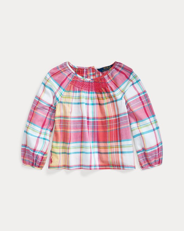 폴로 랄프로렌 Polo Ralph Lauren Smocked Cotton Madras Top,Pink White Multi