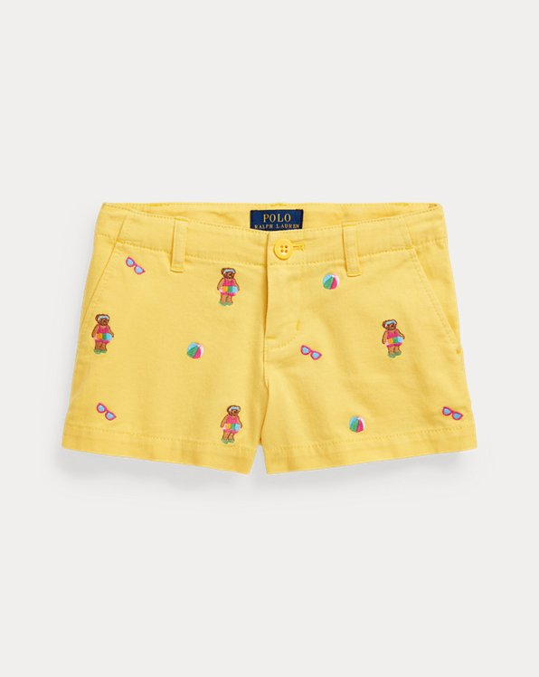 Shorts aus Baumwollchino mit Pool Bear
