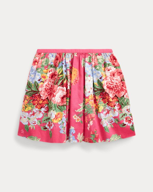Floral Cotton Sateen Skirt