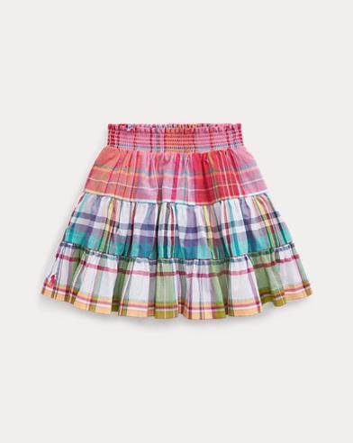 Tiered Cotton Madras Skirt