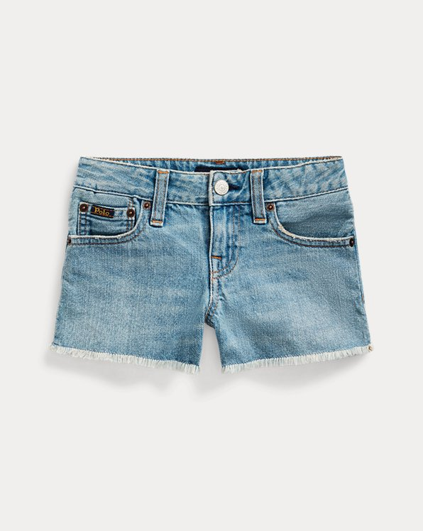 Frayed Cotton Denim Short